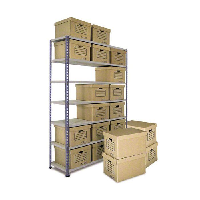 Estantes de Aço Metal Point 2 com caixas de arquivo